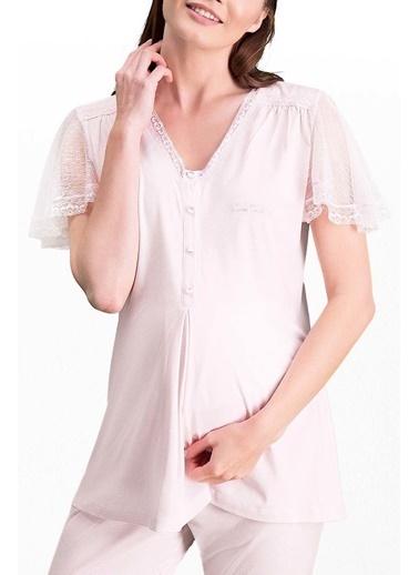 Pierre Cardin Pierre Cardin Krem Kadın Lohusa Pijama Takımı Pembe